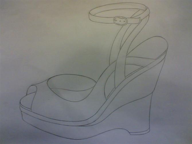鞋子素描 步骤图