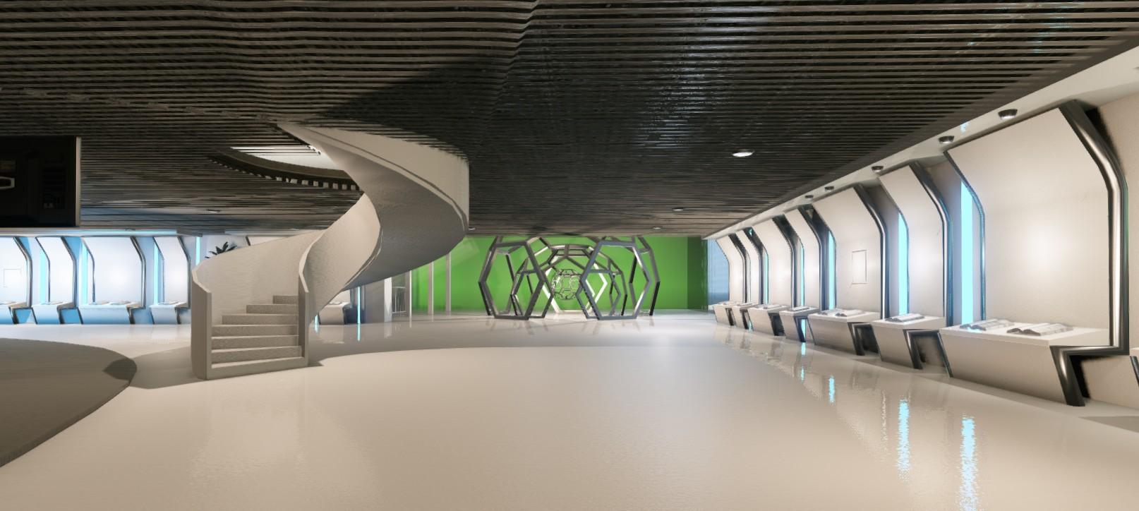 效果图-会展中心中央展厅设计方案效果图