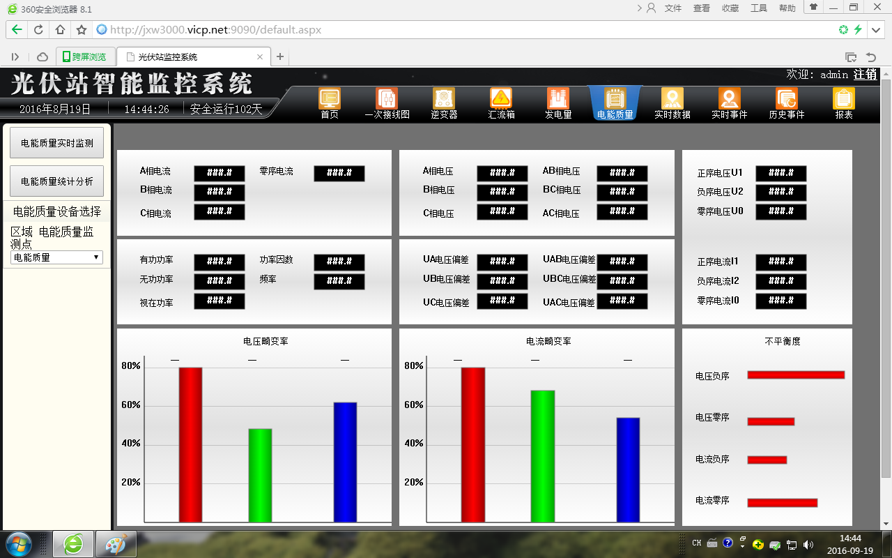 逆变器监控,故障分析.  5. 汇流箱监控.  6.电能质量分析.  7.图片